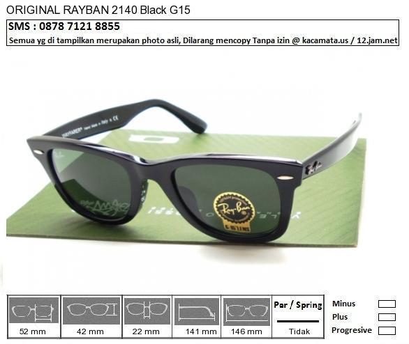 RAYBAN 2140F Black G15 Size 52